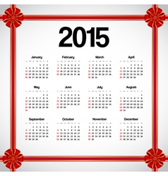 Calendar 2015 with bows vector image