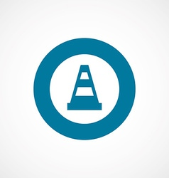 Construction cone bold blue border circle icon vector
