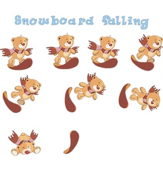 Snowboard falling vector