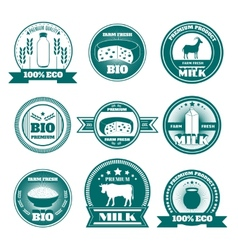Eco farm milk dairy products emblems vector