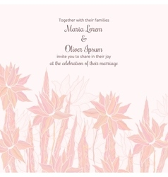 Wedding invitation template with sttylish flowers vector