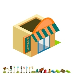 Isometric market building icon vector