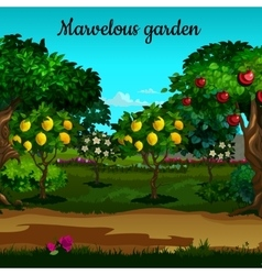 Garden with citrus and green trees in blossom vector
