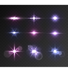 Lighting flare set vector