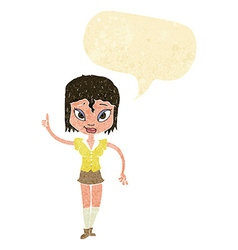 Cartoon woman making point with speech bubble vector