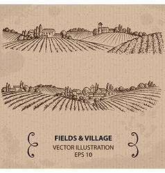 Fields and village vector