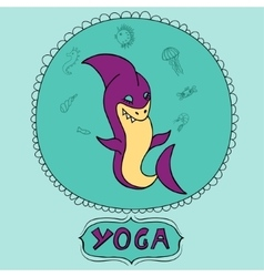 Great purple cartoon shark doing meditation with vector