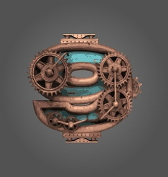 9 rusted letter with gears vector