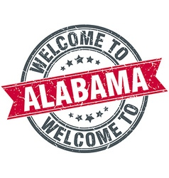 Welcome to alabama red round vintage stamp vector