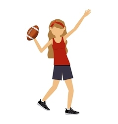 Female athlete practicing isolated icon design vector