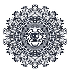 All seeing eye in mandala vector
