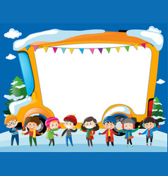 Border template with kids and schoolbus vector