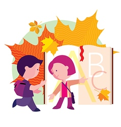 Boy and girl going to school the first day vector