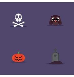 Cartoon halloween objects vector image vector image