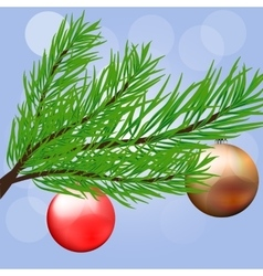 Christmas branch with hanging Christmas ball vector image