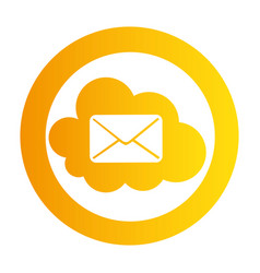 Color circular emblem with mail cloud service vector
