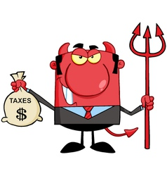 Devil with a trident and holding taxes bag vector
