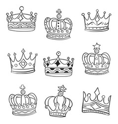 doodle crowns various style vector image vector image