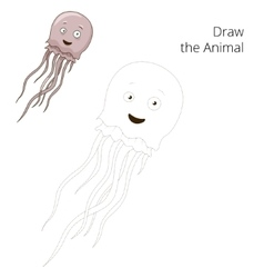 Draw the jellyfish educational game vector image