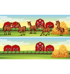 Farm scenes with horses and barns vector image vector image