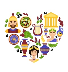 Greece symbols heart vector image