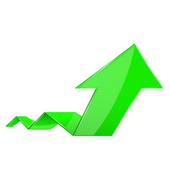 Green arrow financial up rising 3d graph vector