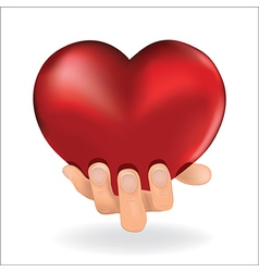 Holding love heart vector