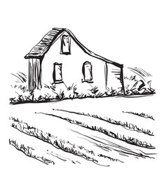 landscape with fields and building hand drawn vector image vector image