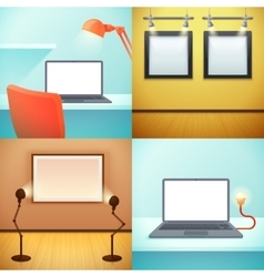 Light workplace mockups design concept vector