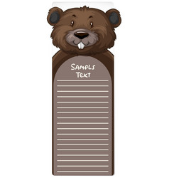 Line paper template with beaver vector