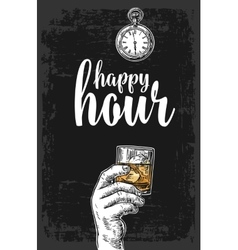 Male hand holding a glass with whiskey and ice vector image