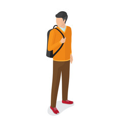 man in orange sweater brown trousers with rucksack vector image