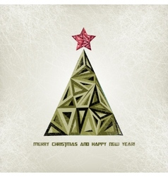 Merry Christmas card with grunge christmas tree vector image vector image