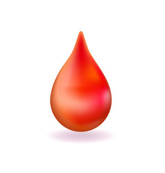 Realistic red blood drop 3d icon droplet falls vector