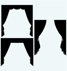 Set of silk curtains open vector