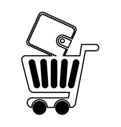 Shopping cart with wallet vector