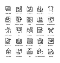 shopping colored icons set 4 vector image