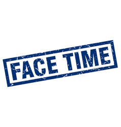 Square grunge blue face time stamp vector