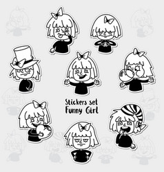 sticker set character emotions a expression set vector image vector image