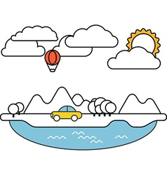 Summer seaside vacation Simple line design vector image