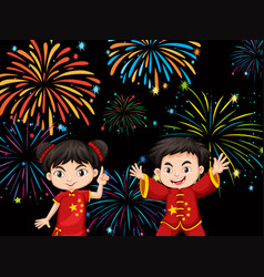 two chinese kids with firework background vector image