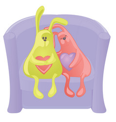 two toy rabbits with hearts on an armchair vector image