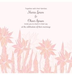 Wedding invitation template with sttylish flowers vector