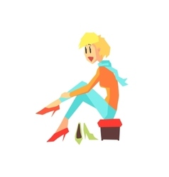 Woman trying shoes vector