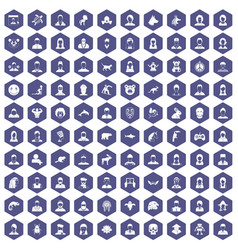 100 avatar icons hexagon purple vector