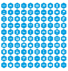 100 car icons set blue vector