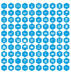 100 car icons set blue vector
