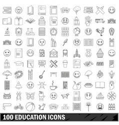 100 education icons set outline style vector