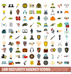 100 security agency icons set flat style vector