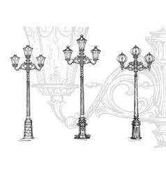 Lamppost or street lamp sketch vector